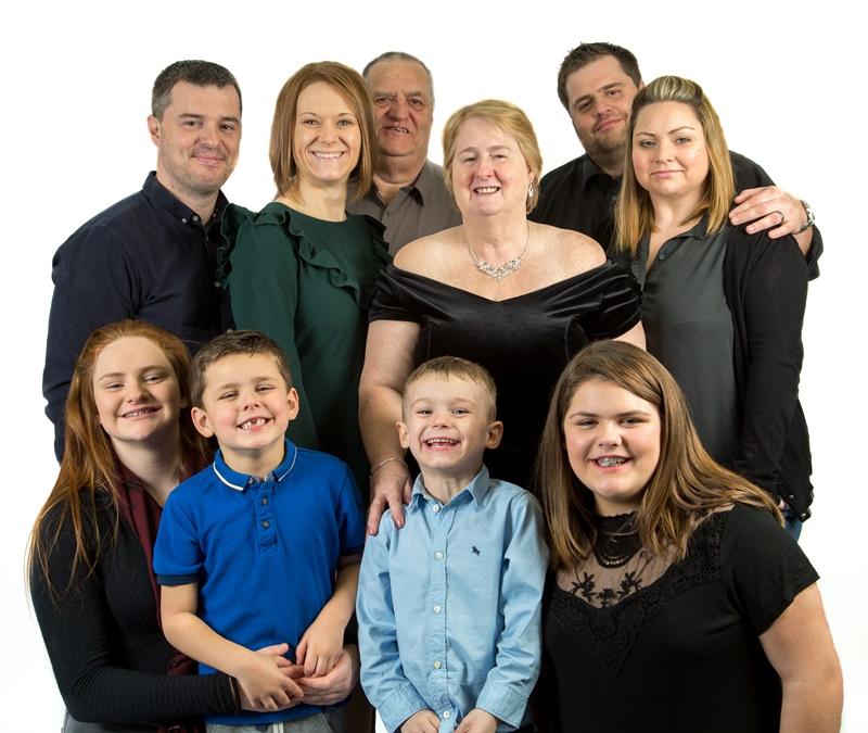 Big family studio portrait